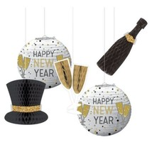 New Years Eve Honeycomb Hanging Decorations 5 Pc - $17.89