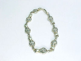 KITTY CAT Open Work LINK BRACELET IN STERLING SILVER - 8 1/4 INCHES - FR... - £34.75 GBP