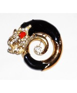 Panther Rhinestone Enameled 18k Gold Tone Brooch - $45.28