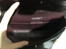 100% Authentic Chanel BLACK QUILTED LAMBSKIN MEDIUM CLASSIC DOUBLE FLAP BAG SHW image 4
