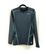 Nike Pro Combat Mens Shirt Hyperwarm Fitted Long Sleeve Dri-Fit Gray Blu... - $30.95
