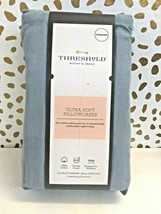 Threshold Ultra Soft Solid Blue Standard Pillowcase Set 300 Thread Count 2 Ct- image 1