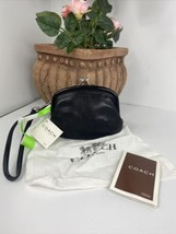 New Coach Coin Purse Wallet Kisslock Framed   FS5881 Black Leather W6 - $137.19