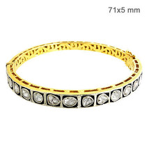 14k Gold 2.10 Ct Rose Cut Diamond Sterling Silver Victorian Look Bangle ... - $1,140.03