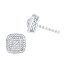 10k White Gold Womens Round Diamond Cluster Square Screwback Earrings 5/8 Cttw - $539.00