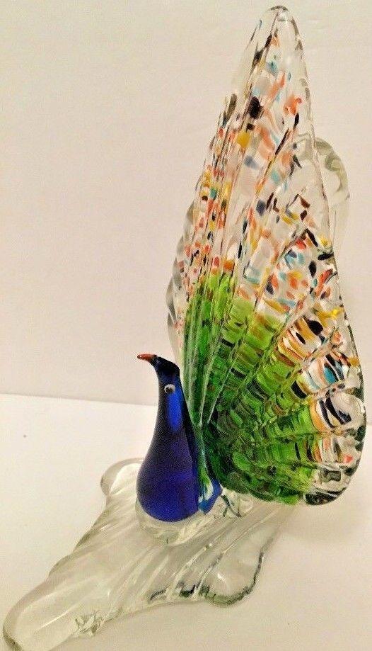 "Blue Peacocks Vase Glass Flowers Floral 8 1/4"" t Birds Home Decor Mantel Collect"