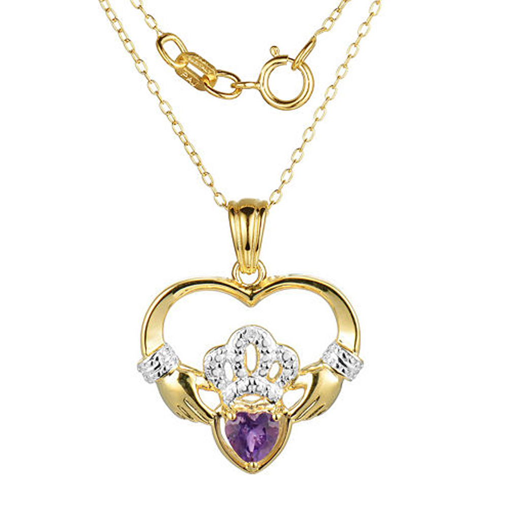 "Primary image for Heart-Shaped Amethyst and Sim.Diamond Claddagh Pendant With 18"" Chain Necklace"