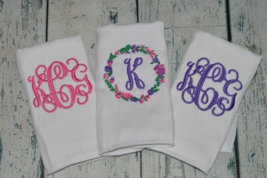 Personalized Baby Girl Floral Burp Cloth set of 3 Floral Wreath Pink Purple - $27.00