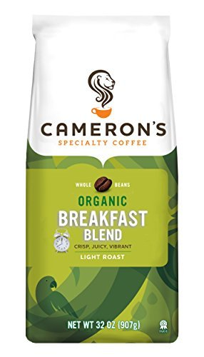 Cameron's Coffee Roasted Whole Bean Coffee, Organic Breakfast Blend, 32 Ounce