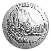 2010 P 5 oz Silver ATB Yosemite National Park .999 Silver First Year Of Issue image 2