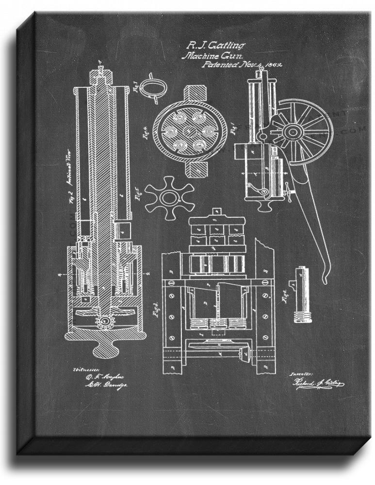 Primary image for Gatling Machine Gun Patent Print Chalkboard on Canvas