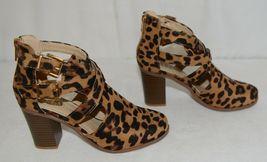 Bella Marie Vermont 61 Leopard Suede Double Buckle Plus Zipper Size 6 image 3