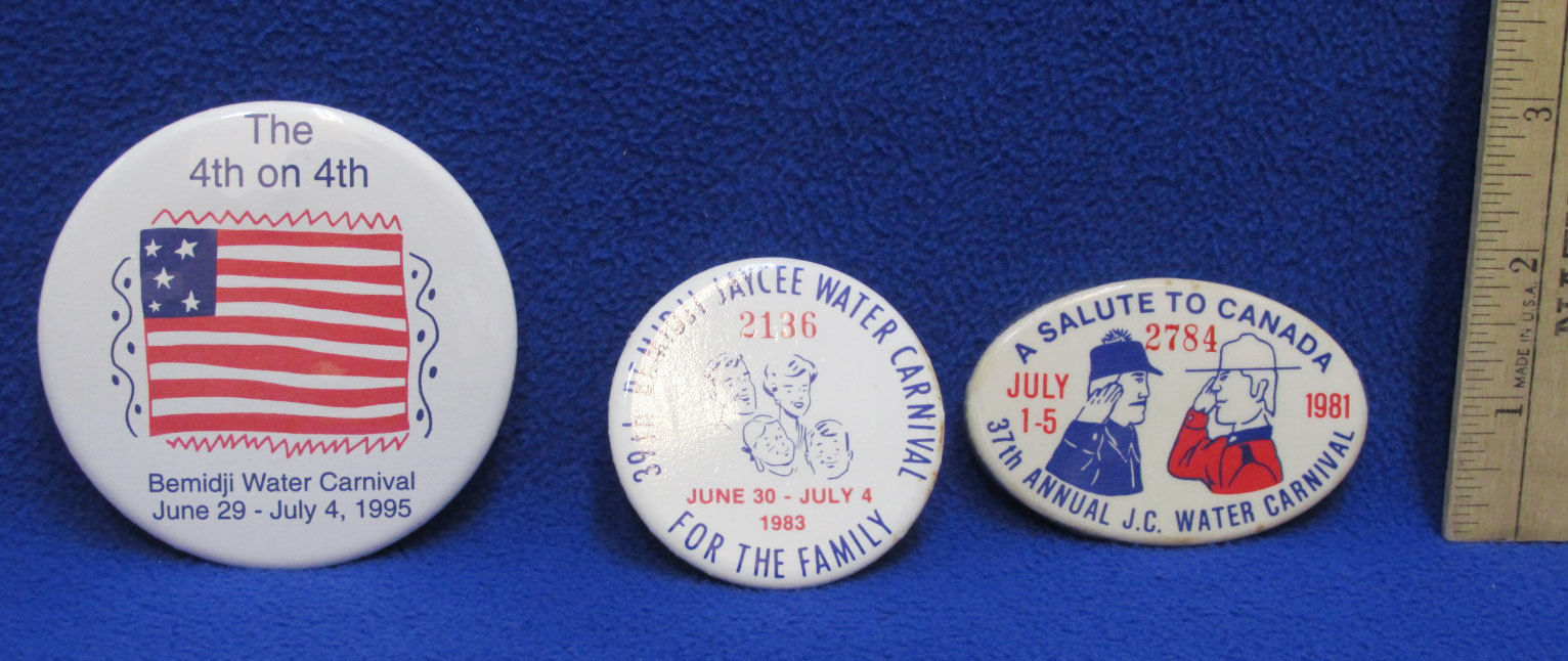 Paul Bunyan Postcard 3 JC Annual Water Carnival Button Pins White 1981 1983 1995 image 2