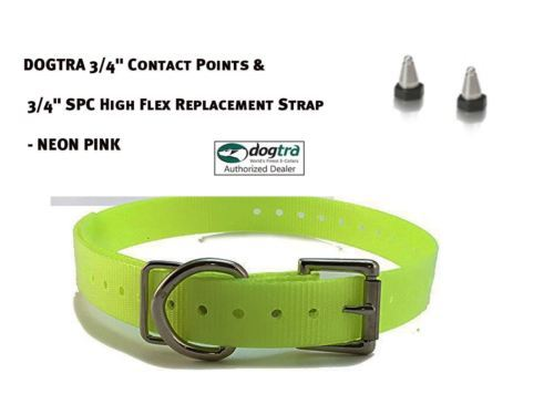 """DOGTRA 3/4"""" Contact Points & 3/4"""" SPC High Flex Replacement Strap - Neon Yellow"""