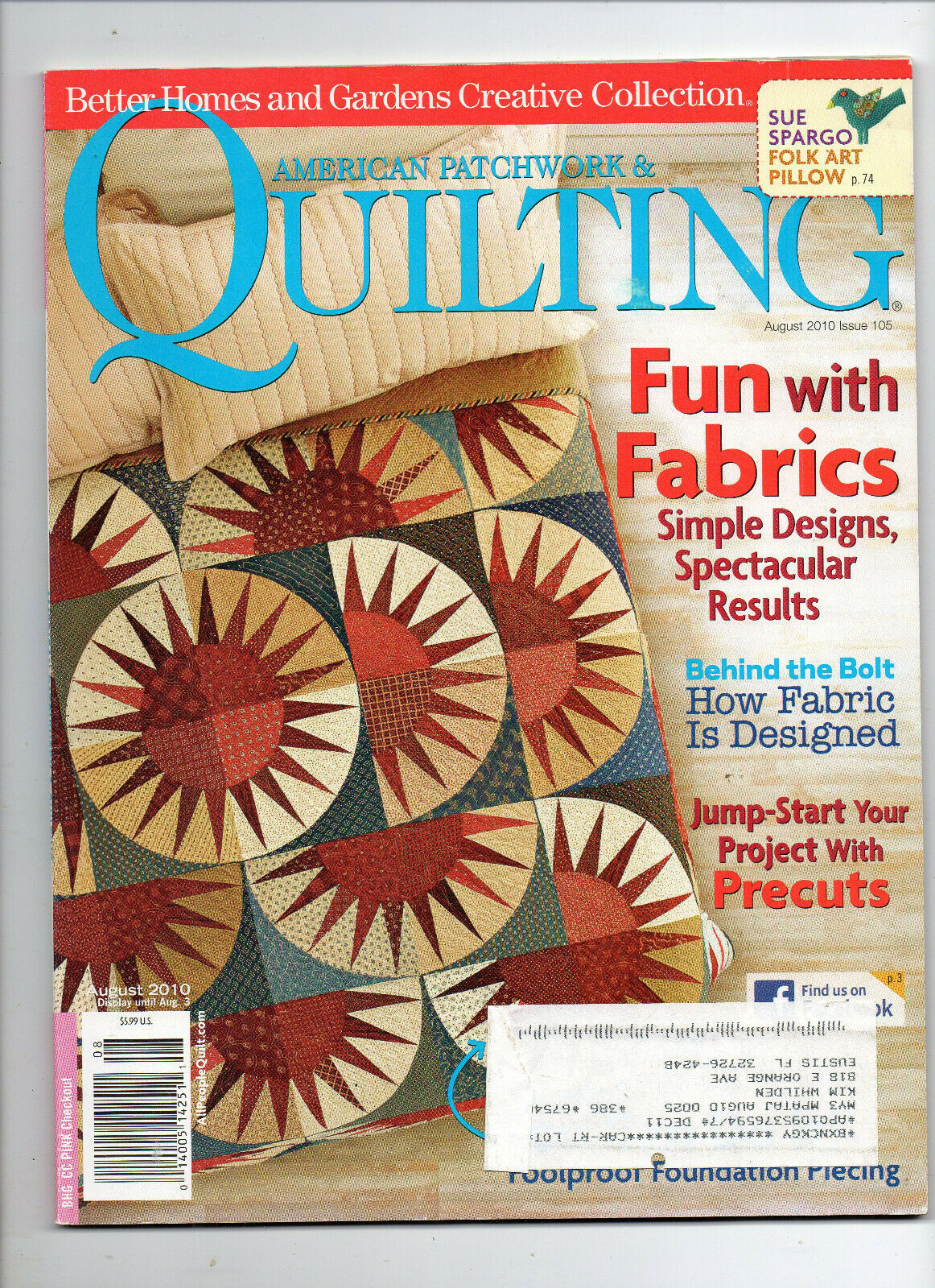 Primary image for August 2010/American Patchwork & Quilting/Preowned Craft Magazine