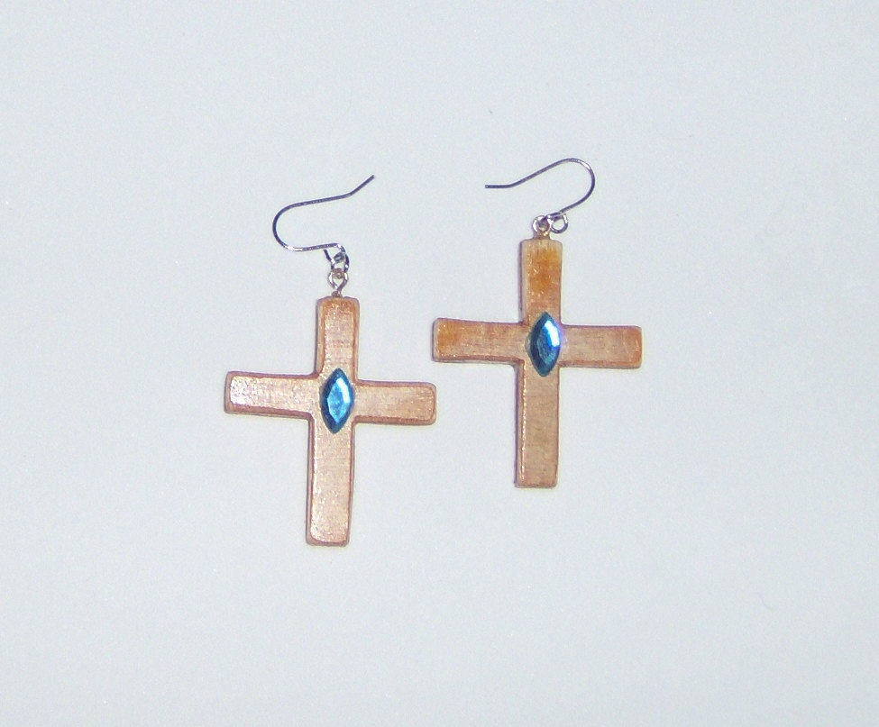 American Made!  Wood Earrings, Handmade Wooden Cross Dangle Earrings with Blue G