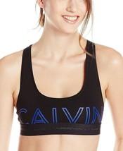 Calvin Klein Women's Modern Criss Cross Logo Black Cotton Racerback Bralette S