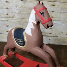 Vintage Wood Decorative Christmas Rocking Horse Hand Carved Painted - $9.75