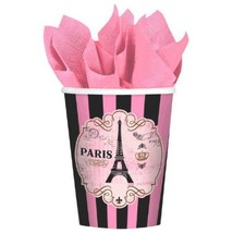 Day In Paris 8 9 oz Hot Cold Paper Cups Birthday Party - $4.39