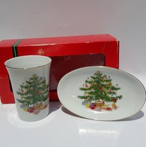 Vintage Christmas Ceramic Bath Set Cup soap dish Japan Tree - $13.20