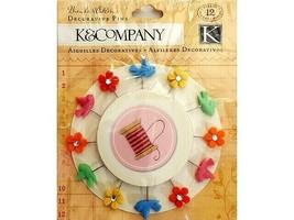 K&Company Brenda Walton Decorative Pins, Set of 12, Flowers and Birds