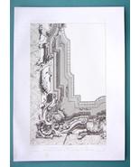 ARCHITECTURE PRINT 1867: BAROQUE CEILING Italian Design Perspective View - $13.46