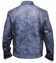 Mens Cafe Racer Biker Distressed Blue Motorcycle Leather Jacket image 3