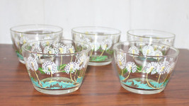 5 Vintage Clear Custard Cups Painted with Dandelion Sead Heads Very Pretty - $44.55