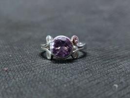 Silver Amethyst Ring 2 Ct Amethyst Band Handmade Amethyst Ring 8 mm Roun... - $34.99