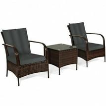 Durable 3pc Gray/Brown Patio Rattan Furniture Set- - $431.61