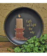 Primitive Country FAITH WILL LIGHT WOODEN PLATE Farmhouse Flowers Religious - £33.49 GBP