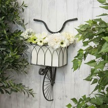 Metal Wall Mounted Bicycle Planter with Basket Vintage Inspired Garden D... - $129.95
