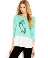 Kensie Owl Layered-look Women's Sweatshirt Mint Combo M ($69) - $10.15