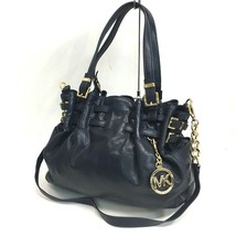 AUTHENTIC Michael Kors Logo Hardware Charm Shoulder Bag 2way bag Navy Le... - $285.00