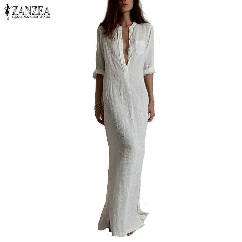 Primary image for Zanzea Summer Casual Dress Long Sleeve Deep V Linen Split Solid Long Maxi Dress