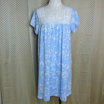 Adonna Sleepwear Women's Blue Floral Short Sleeve Nightgown | Size L - $14.99