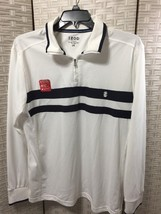 Izod Men's Large Shirt Polo White Navy Stripe Long Sleeve Zip Neck Pullo... - $14.01