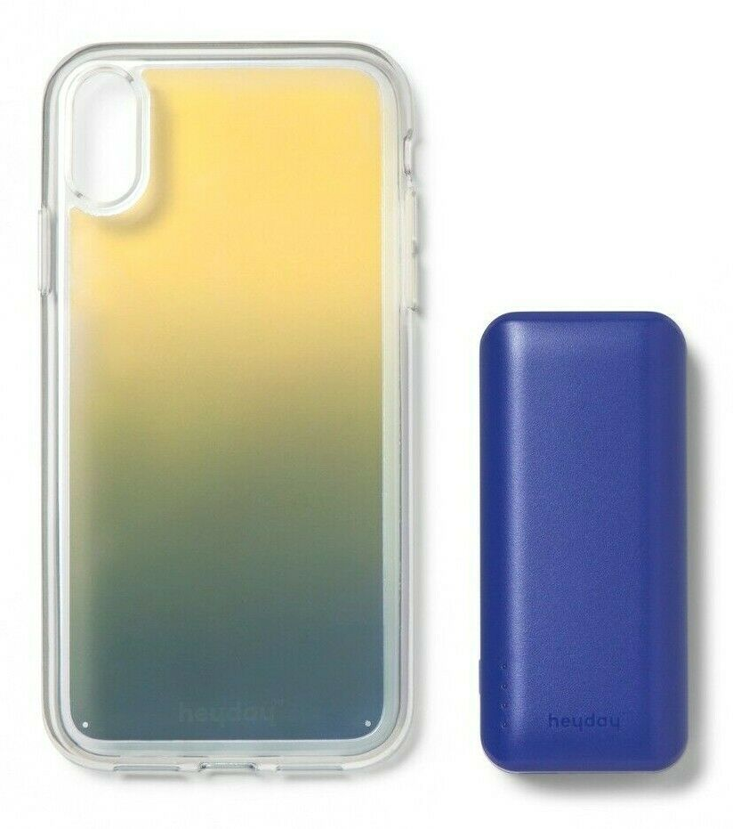 heyday Cool Blue Iridescent Apple iPhone X XS Case with Power Bank NEW