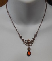 Vintage Signed 2028 Brass Looking Rhinestone Pendant Necklace - $19.31