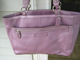 AUTH COACH Large TOTE BAG Penelope Pebbled Leather Lavender /Medium Purp... - $122.75