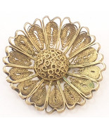 Gold Colored Metal Flower Shaped Brooch or Pin with a C Clasp on Back - $14.50