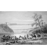 NIAGARA RIVER Suspension Railway Bridge - CIVIL WAR Era Print - $39.60