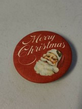 Vintage Hallmark Merry Christmas with Santa Claus Red Fabric Button/Pin... - $23.19