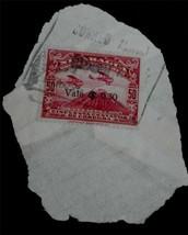 Vintage Used Nicaragua 50 Cincuenta Centavos De Cordoba Stamp, RED, GD CND - $2.96