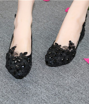 Embellished shoes Black wedding shoes Women's Bridal Shoes UK Size 2,3,4,5,6,7,8 - $38.00