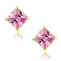 Pink Tourmaline Square Princess Cut CZ Crystal YGP 925 Silver Stud Earrings - $34.63+