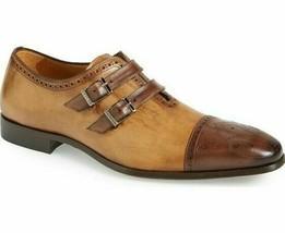 Handmade Men's patina bespoke double monk strap dress shoes unique shoes - $213.40