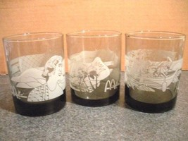 Drinking Glasses 3 Frosted Etched Hawaiian Scene Barware Glass - McDonal... - $14.99