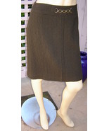 ANN TAYLOR Grayish Brown Stretch Wool Textured Knit Skirt w/ Chain (8) NEW - $19.50