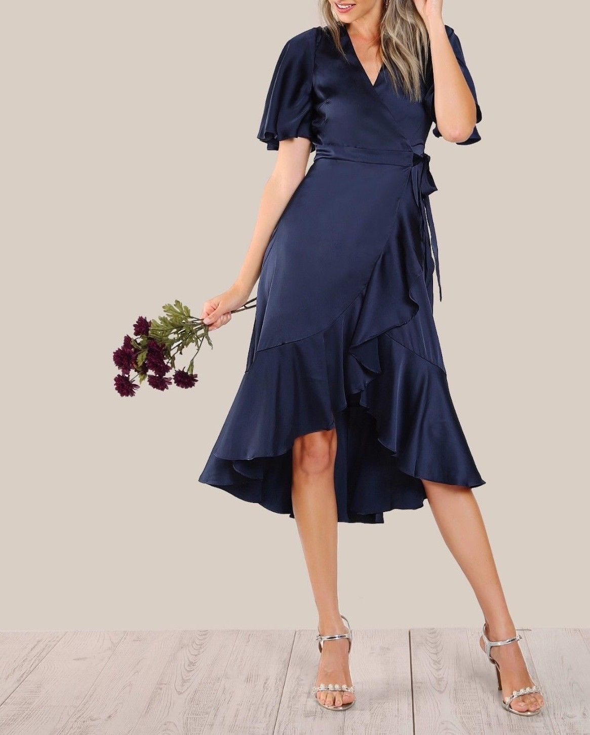 e4024731b2 V Neck Flounce Sleeve Ruffle Hem Fit and Flare Satin Wrap Tie Belted Navy  Dress